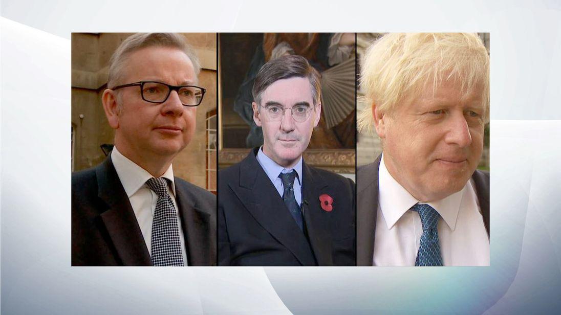 (L-R) Michael Gove, Jacob Rees-Mogg and Boris Johnson
