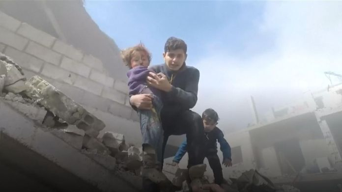 Eastern Ghouta has been under heavy bombardment for several days by Assad and his allies, causing hundreds of deaths and injuries. Syria 'massacre' goes on as UN urges ceasefire vote Syria 'massacre' goes on as UN urges ceasefire vote skynews white helmets syria 4236705