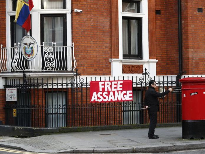 Assange has been in the embassy in London for five and a half years WikiLeaks founder Julian Assange to lose extra security at Ecuadorean embassy WikiLeaks founder Julian Assange to lose extra security at Ecuadorean embassy skynews assange embassy 4224447