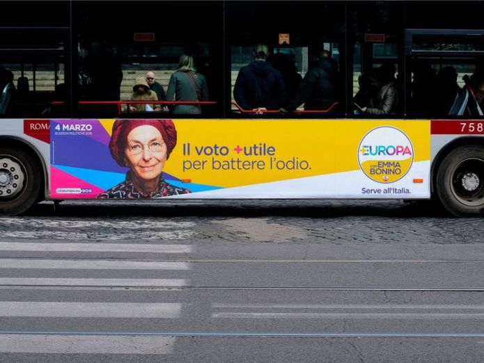 An election poster for the Europa party is seen on the side of a bus in Rome  election Will a toxic election campaign lead to a far-right future for Italy? skynews bonino europa party 4237977