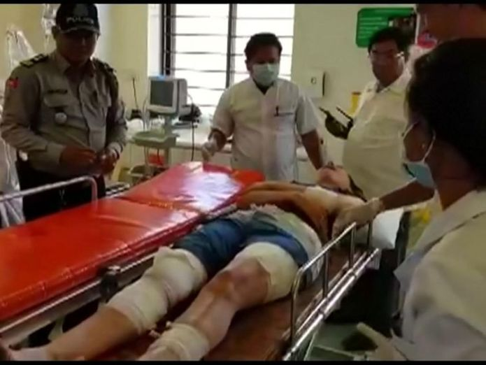 British woman who was gored by a water buffalo on Monday (February 19) on a Cambodian island was transferred to a mainland hospital in Sihanoukville on Tuesday (February 21).