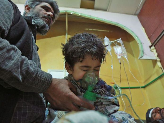 A Syrian child receives treatment for a suspected chemical attack in eastern Ghouta Daily pauses on Syria strikes 'not good enough' Daily pauses on Syria strikes 'not good enough' skynews eastern ghouta syria 4241737