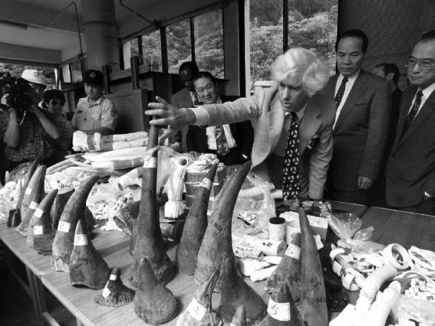 Mr Martin with confiscated rhino horns and elephant tusks in 1993
