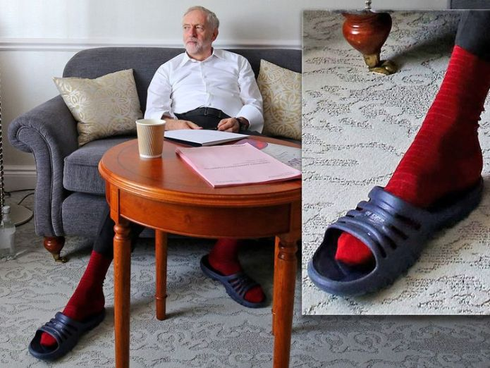 Jeremy Corbyn prepares for his first leader's speech in his hotel room in Brighton during the annual Labour Party conference at the Brighton Centre, Sussex Why Trudeau is wearing Darth Vader Why Trudeau is wearing Darth Vader skynews jeremy corbyn socks and sandals 4235031