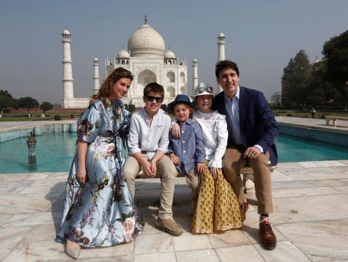 Canadian Prime Minister Justin Trudeau, his wife Sophie Gregoire Trudeau, and their children Ella Grace, Hadrien and Xavier pose in front of the Taj Mahal in Agra, India Why Trudeau is wearing Darth Vader Why Trudeau is wearing Darth Vader skynews justin trudeau india 4235414