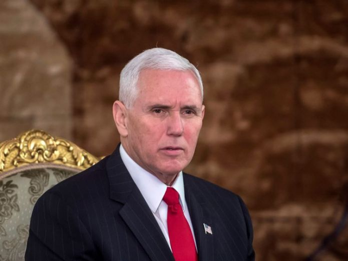 US Vice President Mike Pence meets with Egyptian President Abdel Fattah al-Sisi (unseen) at the Presidential Palace in the capital Cairo on January 20, 2018.  Donald Trump threatens NATO ally Turkey with sanctions over detained US pastor skynews mike pence us 4233510