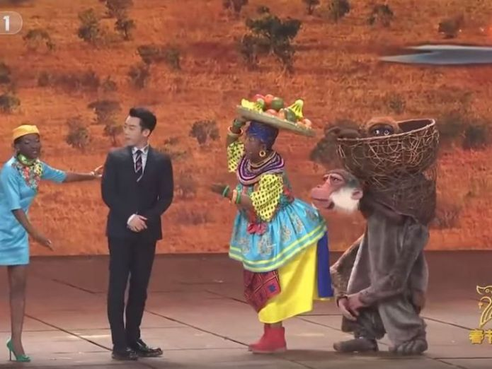 Chinese TV show under fire for 'racist' sketch Chinese New Year TV show sparks fury with blackface sketch Chinese New Year TV show sparks fury with blackface sketch skynews monkey cctv china 4232681
