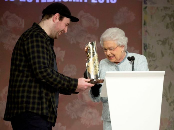 The Queen presented the first Queen Elizabeth II Award for British Design to Richard Quinn queen attends first london fashion week front row in surprise visit Queen attends first London Fashion Week front row in surprise visit skynews queen london fashion week 4236212