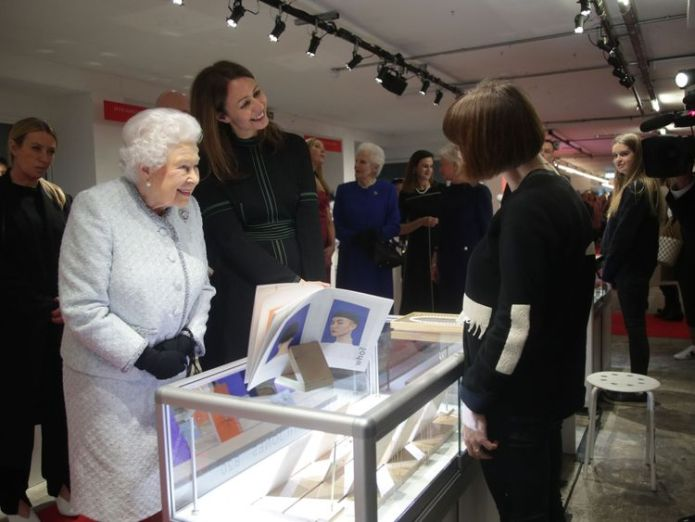 The Queen, next to BFC chief Caroline Rush, joked with a designer displaying her jewellery queen attends first london fashion week front row in surprise visit Queen attends first London Fashion Week front row in surprise visit skynews queen london fashion week 4236217