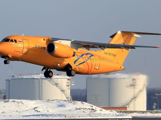 A Saratov Airlines Antonov AN-148 plane taking off. File pic