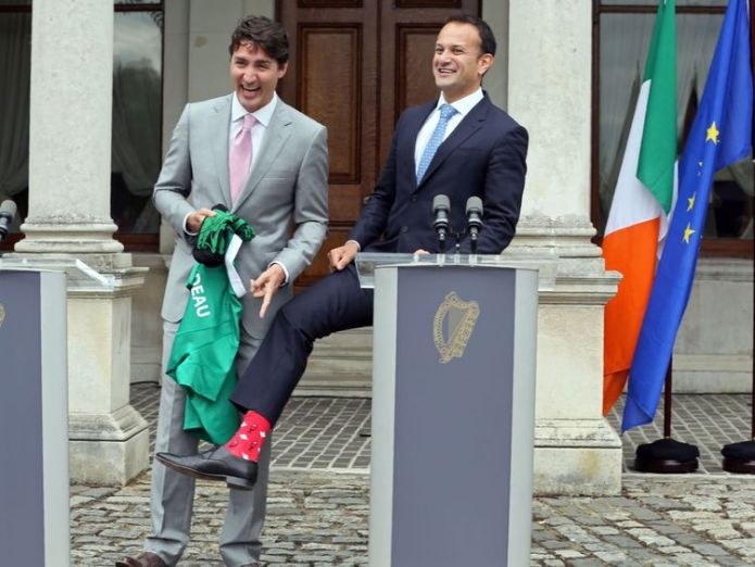 Justin Trudeau and Leo Varadkar bonded over socks Why Trudeau is wearing Darth Vader Why Trudeau is wearing Darth Vader skynews socks turdeau 4235136