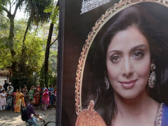 A picture of Sridevi has been put up outside her home in Mumbai Bollywood superstar drowned in bathtub, police say Bollywood superstar drowned in bathtub, police say skynews sridevi bollywood dubai 4241561