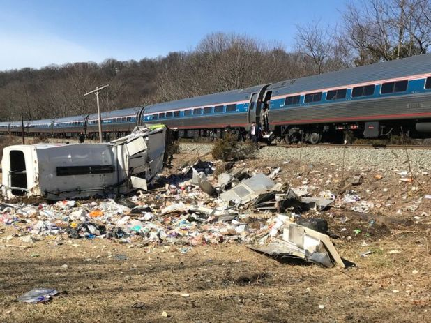 An Amtrak passenger train carrying Republican members of the U.S. Congress from Washington to a retreat in West Virginia is seen after colliding with a garbage truck in Crozet, Virginia