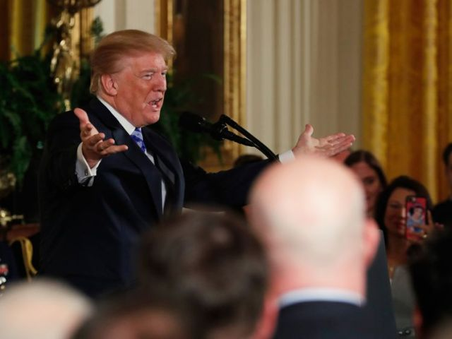 U.S. President Donald Trump hosts a Public Safety Medal of Valor awards ceremony in the White House