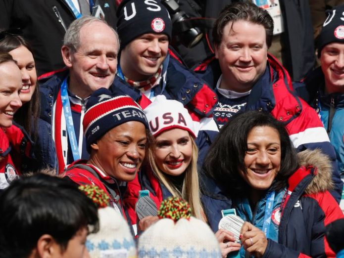 Ivanka Trump poses with Team USA members  IOC decides not to lift Russian ban at Winter Olympics IOC decides not to lift Russian ban at Winter Olympics skynews winter olympics ivanka trump 4240331