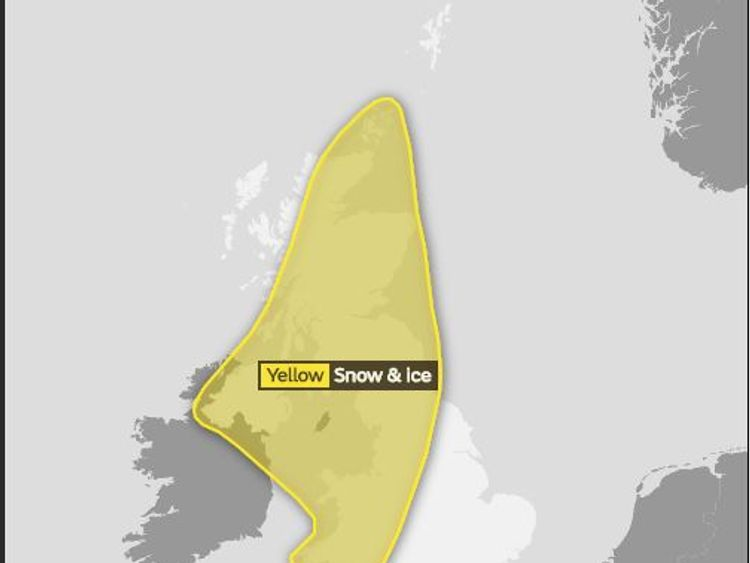 The Met Office's yellow snow and ice warning for Monday night through to Tuesday afternoon