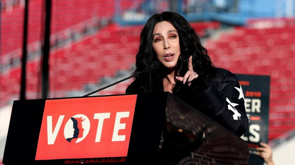 Cher speaks during the Women's March rally in Las Vegas, Nevada, US.