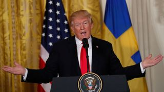U.S. President Donald Trump addresses a joint news conference with Sweden's Prime Minister Stefan Lofven us to slap tariffs on eu steel and aluminium US to slap tariffs on EU steel and aluminium skynews donald trump president 4248712