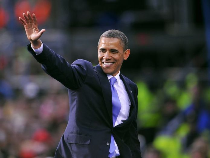 US President Barack Obama greets fans after delivering a speech to crowds of people during a public rally at College Green in Dublin, Ireland, on May 23, 2011 Obamas confirm 'films and series' Netflix deal Obamas confirm 'films and series' Netflix deal skynews barack obama 4251364