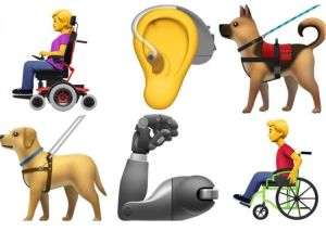 Six emoji are shown. A girl in a power chair, an ear with an aid, an assistance dog, a guide dog, a prosthetic arm, a boy in a manual wheelchair