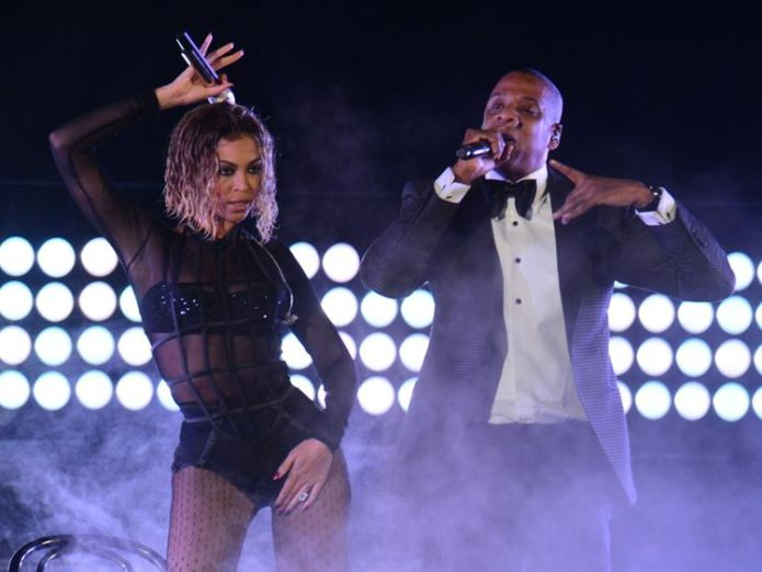 Beyonce Knowles and Jay-Z perform on stage for the 56th Grammy Awards at the Staples Center in Los Angeles, California, January 26, 2014. AFP PHOTO FREDERIC J. BROWN (Photo credit should read FREDERIC J. BROWN/AFP/Getty Images) Beyonce and Jay-Z drop surprise joint album Everything Is Love and music video Beyonce and Jay-Z drop surprise joint album Everything Is Love and music video skynews jay z beyonce 4253783