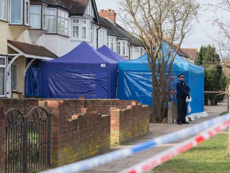 Police outside a house in New Malden which has been sealed-off after Russian businessman Nikolai Glushkov, a close friend of Putin critic Boris Berezovsky, has been found dead