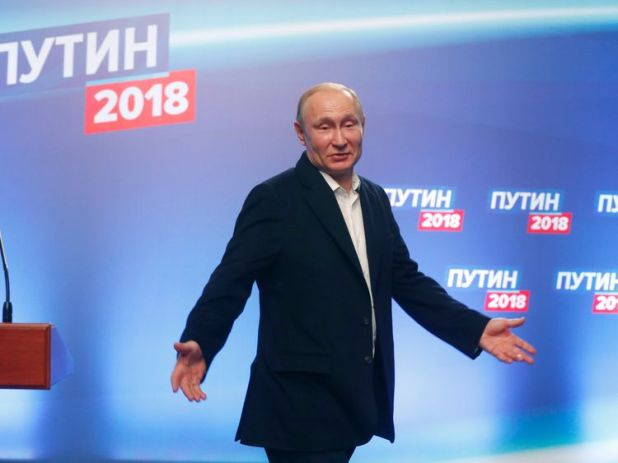 President Vladimir Putin at his campaign headquarters in Moscow