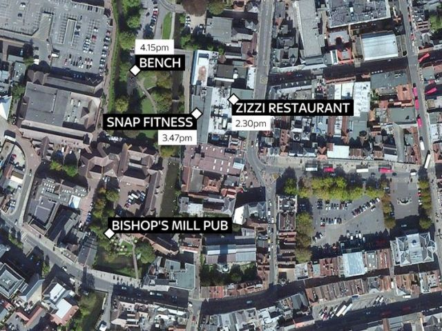 Sites across Salisbury where ex-Russian spy Sergei Skripal and his daughter Yulia were seen on Sunday afternoon