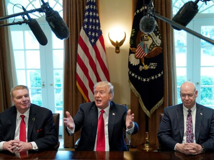 Trump holds a meeting on steel and aluminum tariffs at the White House in Washington