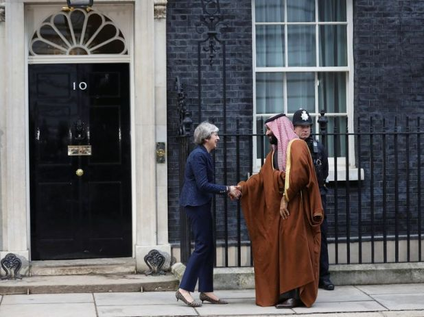 Theresa May greets the Crown Prince of Saudi Arabia Mohammad bin Salman outside 10 Downing Street