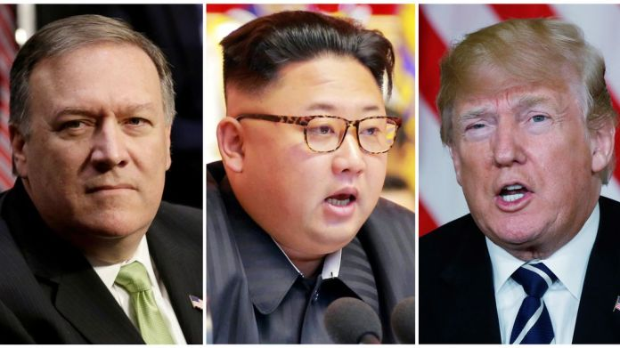 CIA Director Mike Pompeo (L), North Korean leader Kim Jong Un (C) and US President Donald Trump (R)