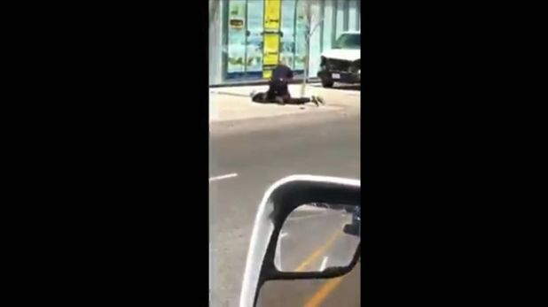 The Toronto suspect is restrained by a police officer