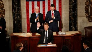 French President Emmanuel Macron acknowledges applause after addressing a joint meeting of Congress in the House chamber of the U.S. Capitol in Washington, U.S., April 25, 2018. REUTERS/Aaron Bernstein  Just 11 years to contain global warming skynews macron trump speech 4292462