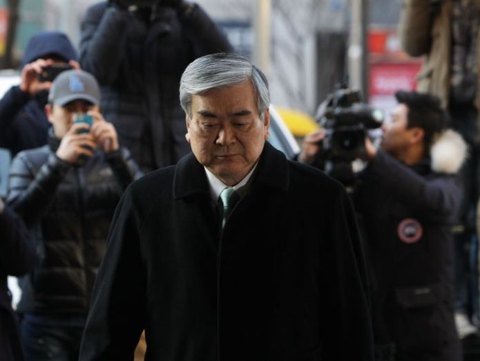 Cho Yang-Ho, Korean Air Chairman & CEO arrives at the Seoul Western District Court on January 30, 2015 in Seoul, South Korea. The chairman of Korean Air Lines Co. Cho Yang-ho appeared in court as a witness in the trial over his eldest daughter Cho Hyun-ah's alleged obstruction of aviation safety in the 'nut rage' incident Korean Air family in trouble again after 'nut rage' Korean Air family in trouble again after 'nut rage' skynews cho yang ho korean air 4281389