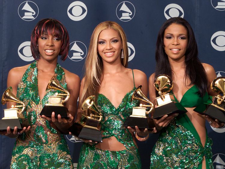 Destiny's Child in 2001 posing with their Grammys