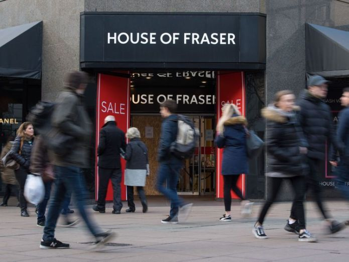 House of Fraser  50,000 jobs lost on high streets this year skynews house of fraser high street shop 4286902