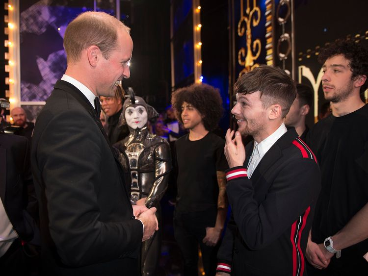 Duke of Cambridge meets Louis Tomlinson in 2017