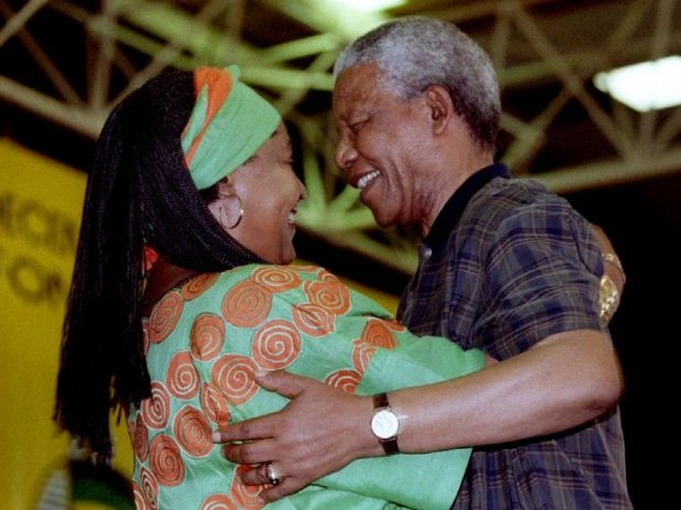 Nelson Mandela congratulates Winnie in 1994 after she was elected at the National Executive Committee of the African National Congress (ANC)