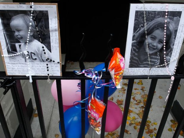 A memorial was left outside Leo and Lucia Krim's home after they were killed