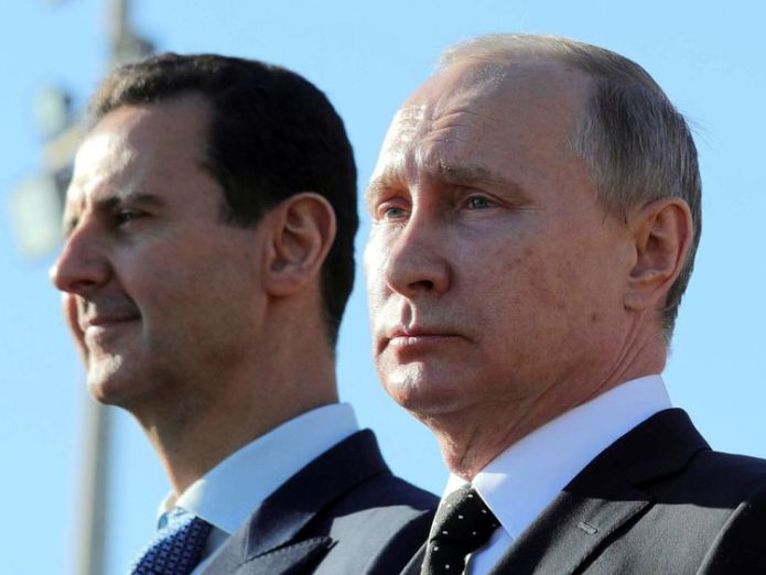 Syria's President Assad and Russia's President Putin deny using chemical weapons in Douma  No nerve agents detected after deadly eastern Ghouta strikes, OPCW inspectors say skynews putin assad syria russia 4284048