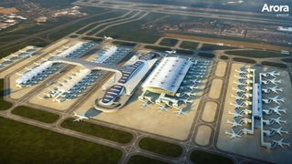 How Arora says its design would look. Pic: Arora 'Capacity crisis' facing world airports, industry group warns 'Capacity crisis' facing world airports, industry group warns skynews arora heathrow design 4299949