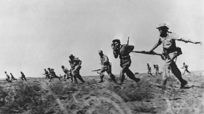 Israeli infantry making a full assault on Arab forces in 1948  What is Nakba Day? What is Nakba Day? skynews israel palestine 1948 war 4310694