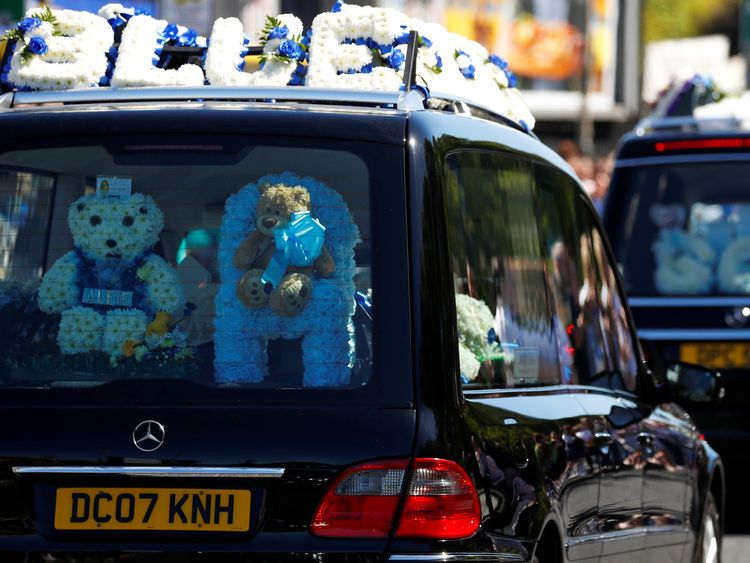 The funeral cortege of toddler Alfie Evans