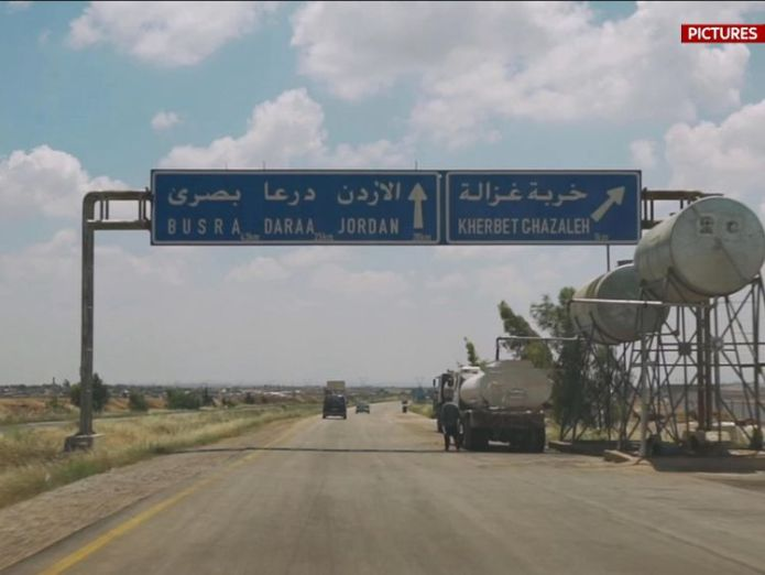 The city is on the road through Syria to Jordan  syrian government extends control across the devastated south Syrian government extends control across the devastated South skynews daraa syria 4325243