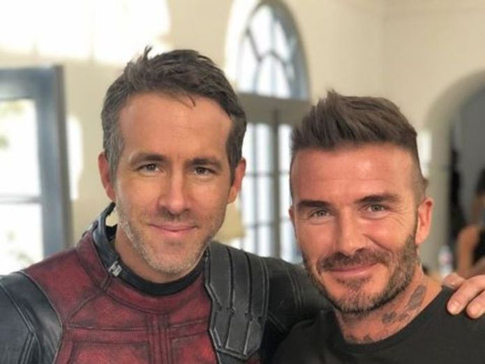 """Ryan Reynolds posted this picture, calling David Beckham a legend and """"truly one of the greats"""". Pic: Ryan Reynolds/Instagram Deadpool sorry for joking about Beckham's voice Deadpool sorry for joking about Beckham's voice skynews deadpool david beckham 4306321"""