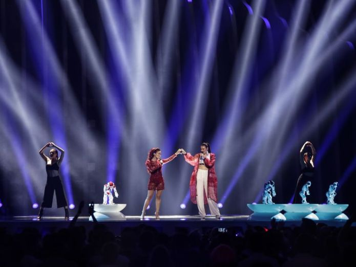 Jessika and Jenifer Brening took to the stagewith a troupe of dancing robots. Pic: Thomas Hanses 'Fake news' row hits Eurovision ahead of final 'Fake news' row hits Eurovision ahead of final skynews eurovision san marino 4307465