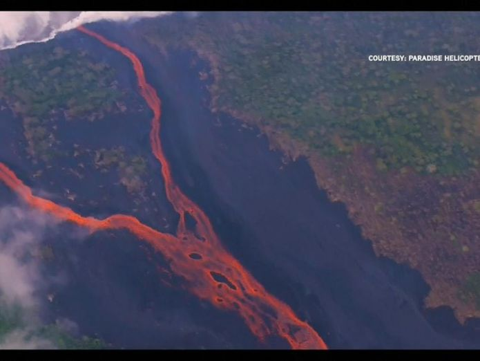 Steam clouds are released where the lava hits water Hawaiians watch lava eat their street in devastating slow motion Hawaiians watch lava eat their street in devastating slow motion skynews hawaii htp 4318572