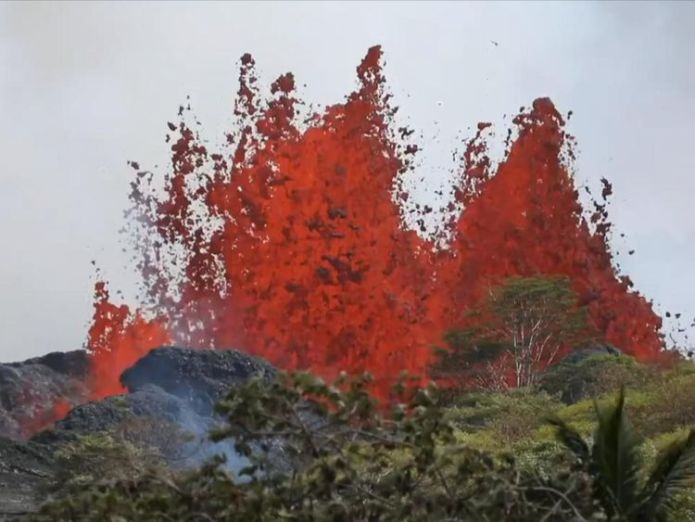 Lava erupts from an underground chamber below the fissure Hawaiians watch lava eat their street in devastating slow motion Hawaiians watch lava eat their street in devastating slow motion skynews hawaii htp 4318574