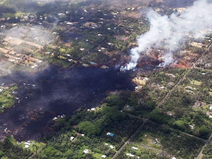 The Leilani estates neighbourhood has been worst affected by the eruption New fissure spews rock and lava from Hawaii volcano New fissure spews rock and lava from Hawaii volcano skynews hawaii volcano eruption 4309813