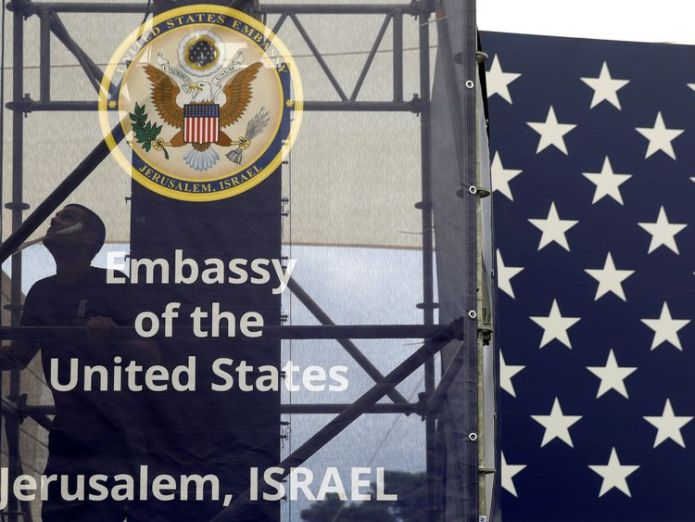 A worker is seen inside the new U.S. embassy compound during preparations for its opening ceremony, in Jerusalem, May 13, 2018 Israel celebrates controversial US embassy move Israel celebrates controversial US embassy move skynews israel embassy jerusalem 4309737